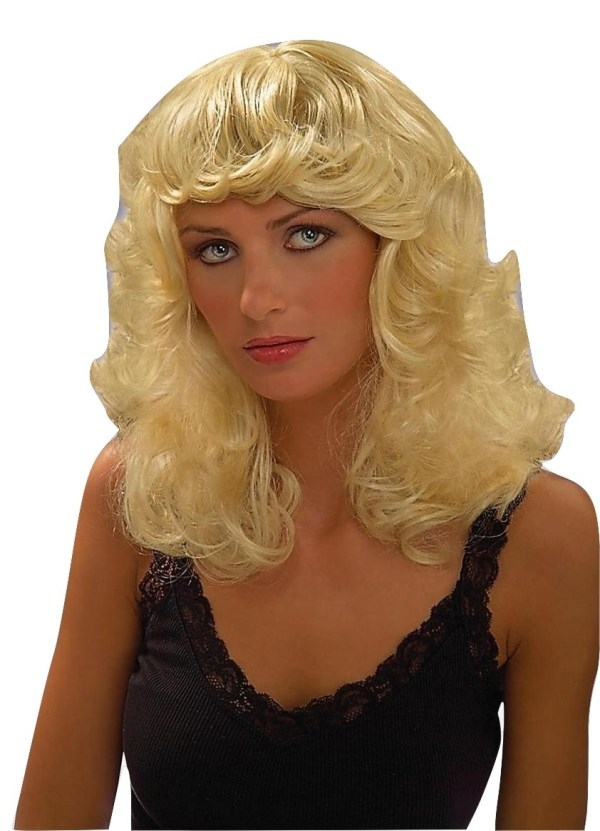 Dolly Blonde Parton Curly Curled Hair Wig Adult Womens