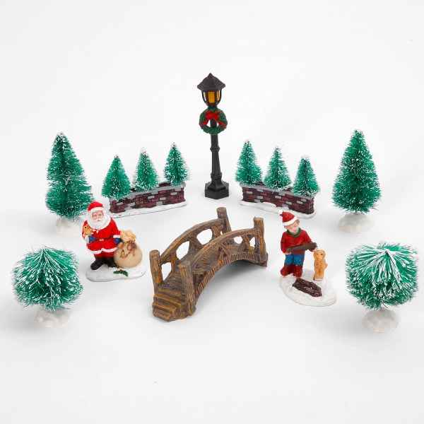 Holiday 10pc Winter Village Town Miniature Figurines