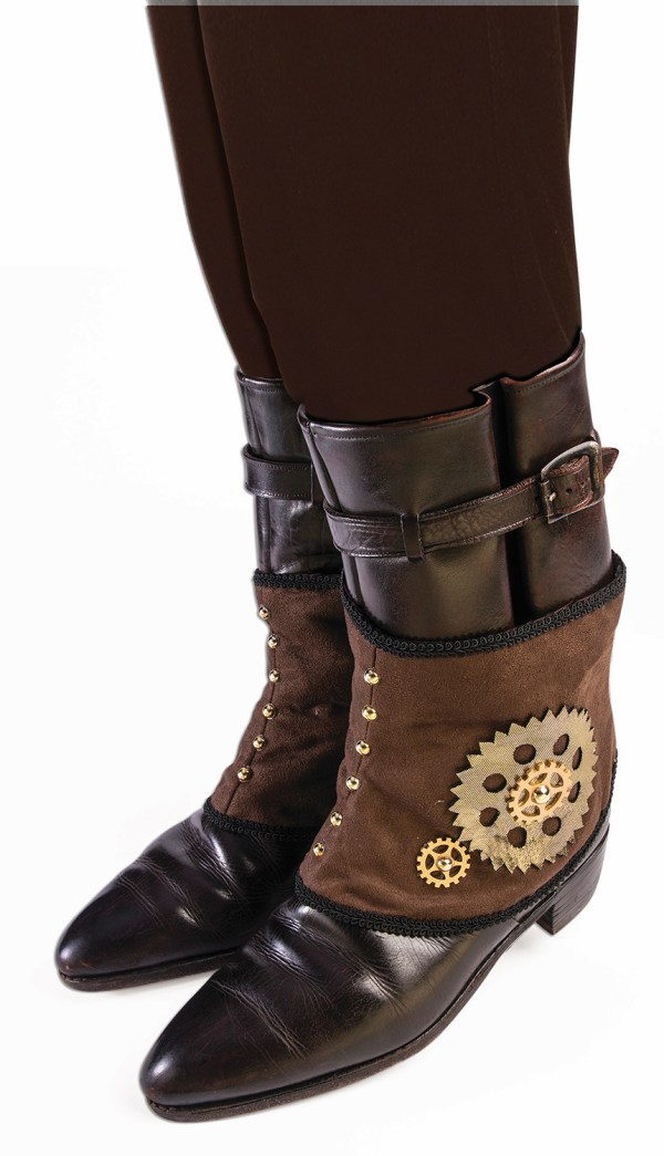 Womens Brown Victorian Steampunk Boot Covers Spats With
