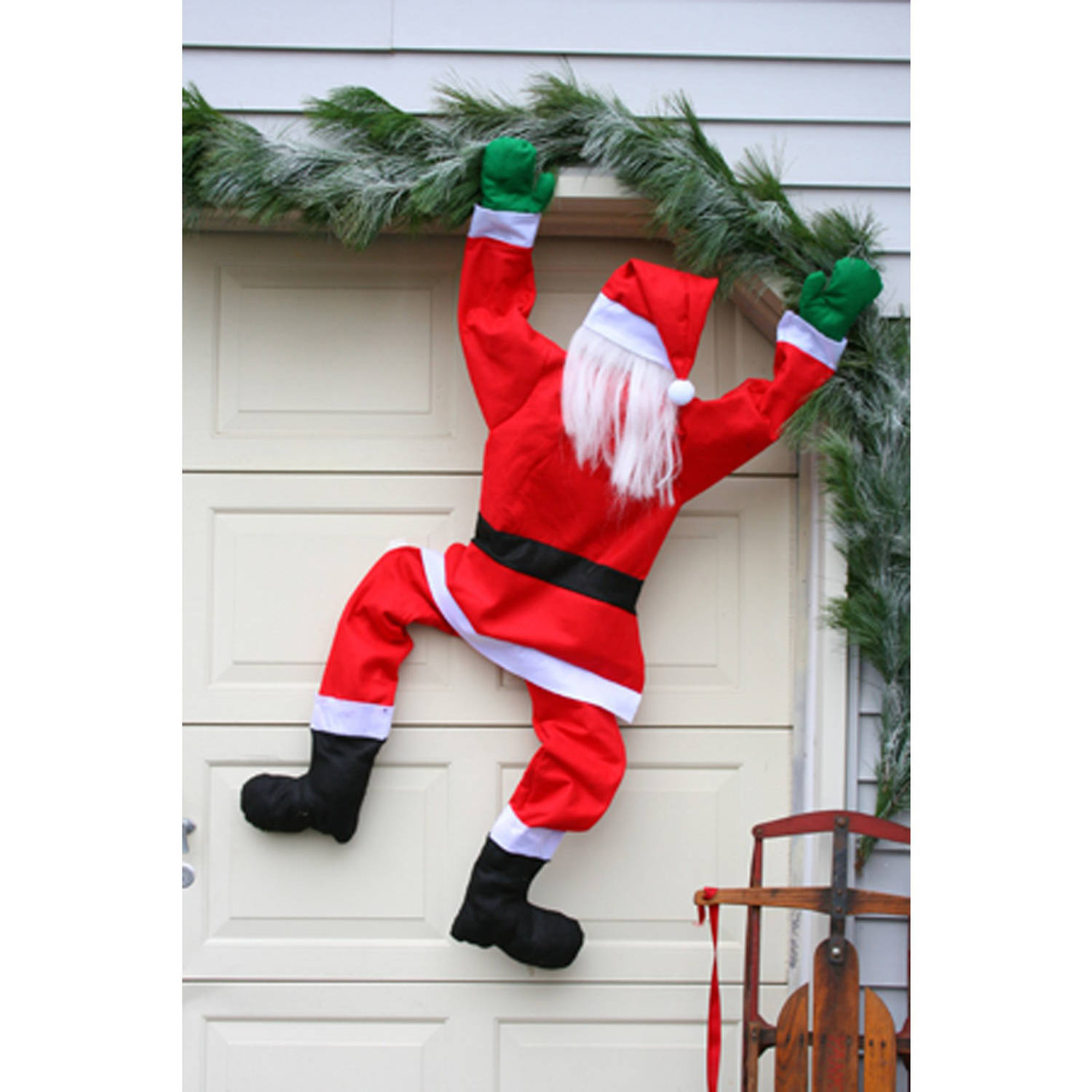 """60"""" Climbing Santa Hanging From Gutter House Chimney"""