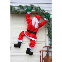 "60"" Climbing Santa Hanging From Gutter House Chimney"