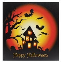 "20"" Light Up Halloween Scene Canvas Wall Picture Home ..."