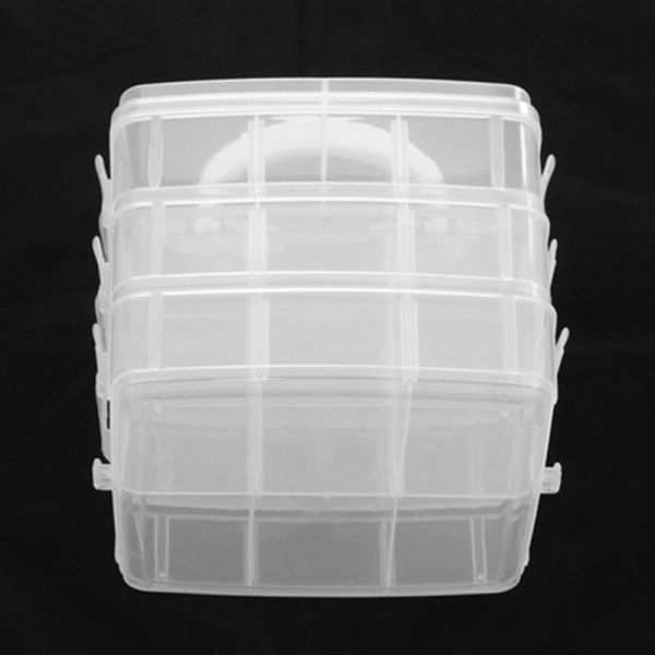 1pcs Clear Plastic Bead Storage Boxes Organizers With 3