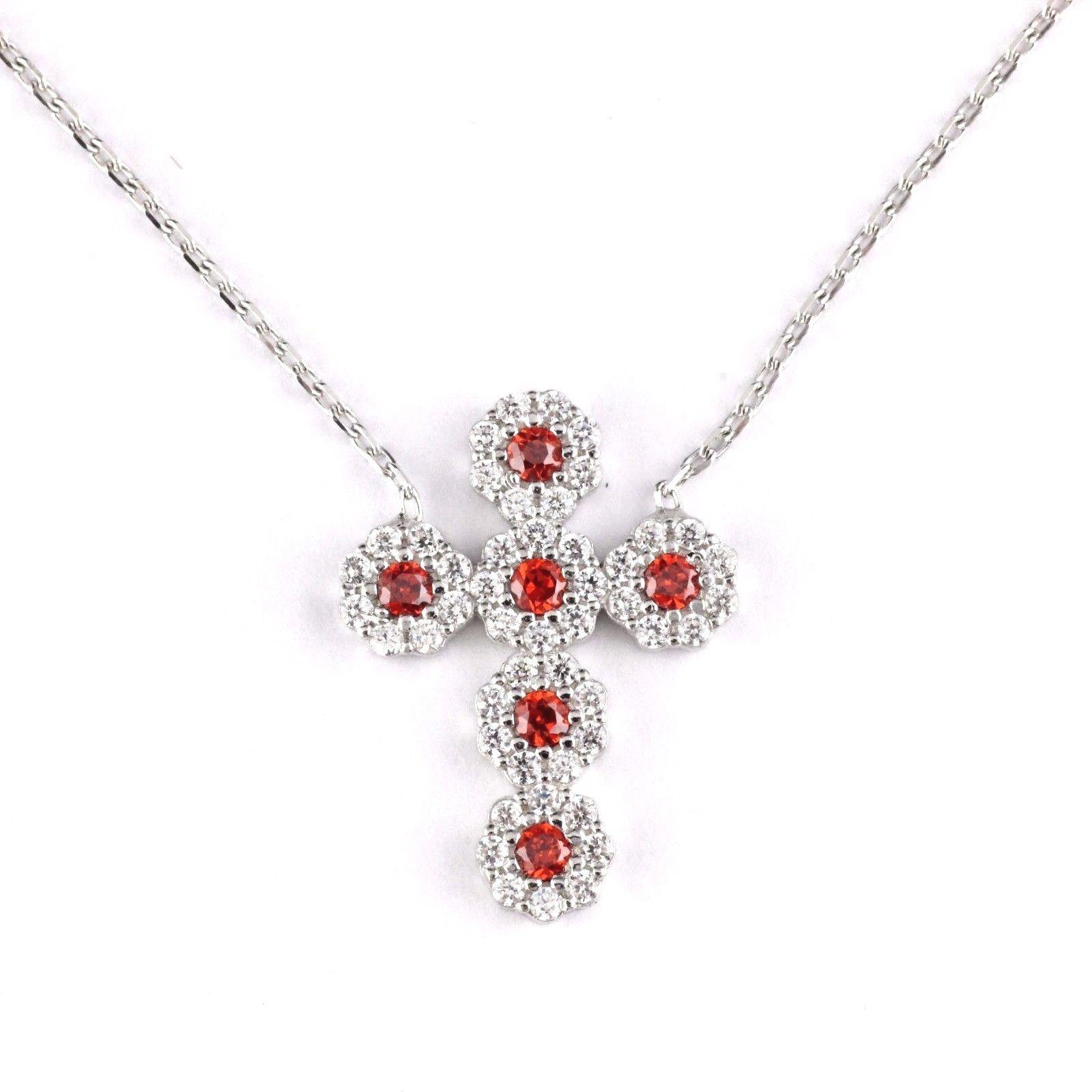 Womens 925 Sterling Silver Garnet CZ Micro Pave Cross