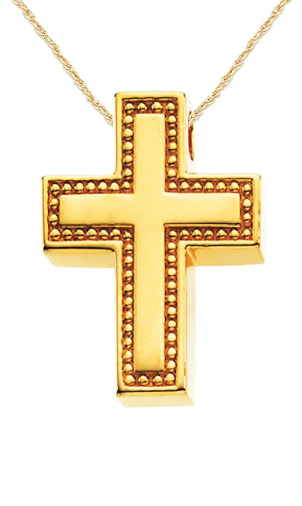 Solid 14k Yellow Gold Cross Christian Pendant With Necklace