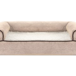 Soft Sofa Dog Bed Resin Furniture Faux Fleece And Chenille Woven Memory Top Pet