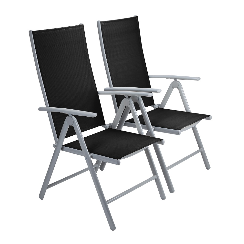 Foldable Dining Chairs Details About Trueshopping 2 X Adjustable Aluminium Folding Dining Chairs In Black