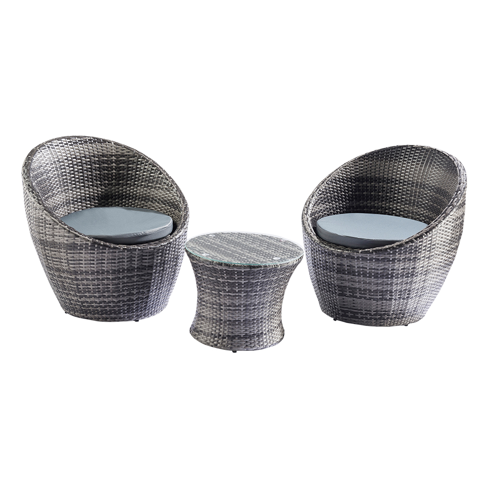 Rattan Egg Chair Set Details About Trueshopping Toledo 3 Piece Rattan Egg Vase Set Bistro Garden Furniture Set Grey