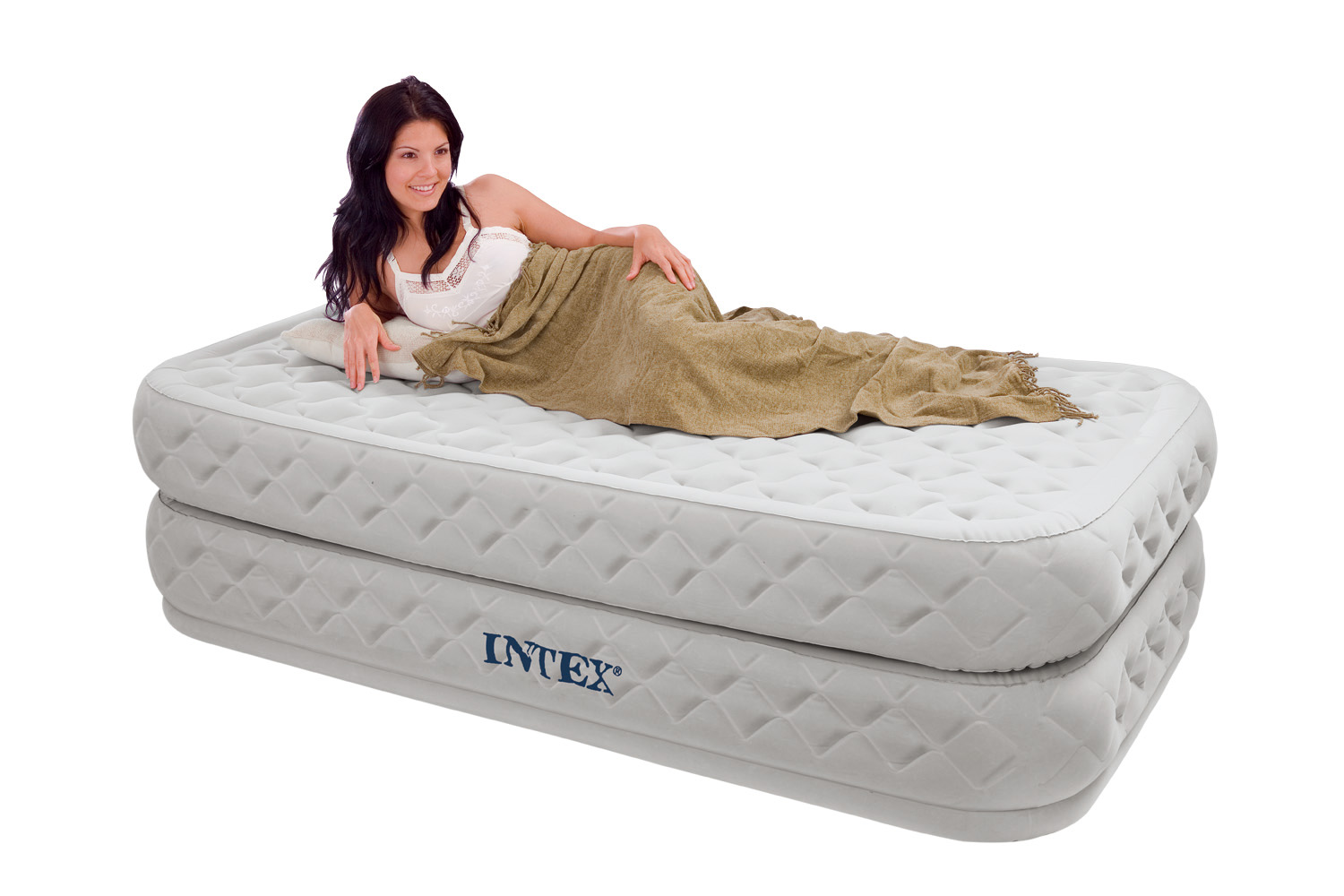 inflatable double sofa bed mattress seat w pump l shape set latest design intex twin supreme air flow raised airbed