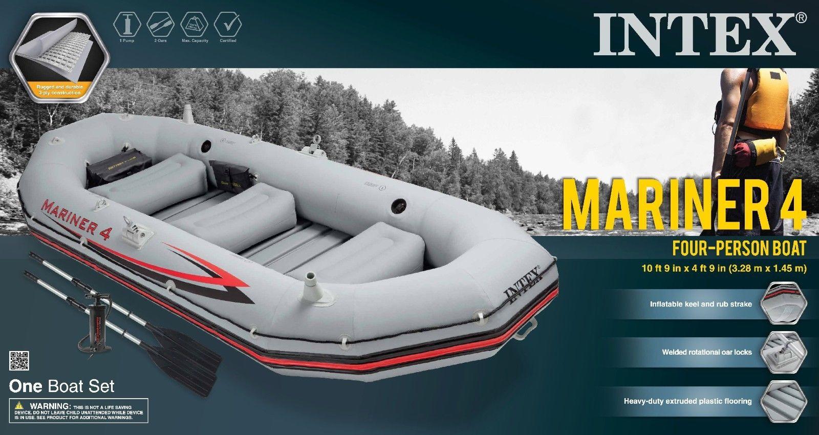 Intex Mariner 4 Inflatable Raft River Lake Dinghy Boat  Oars Set 68376EP New 520201008860  eBay