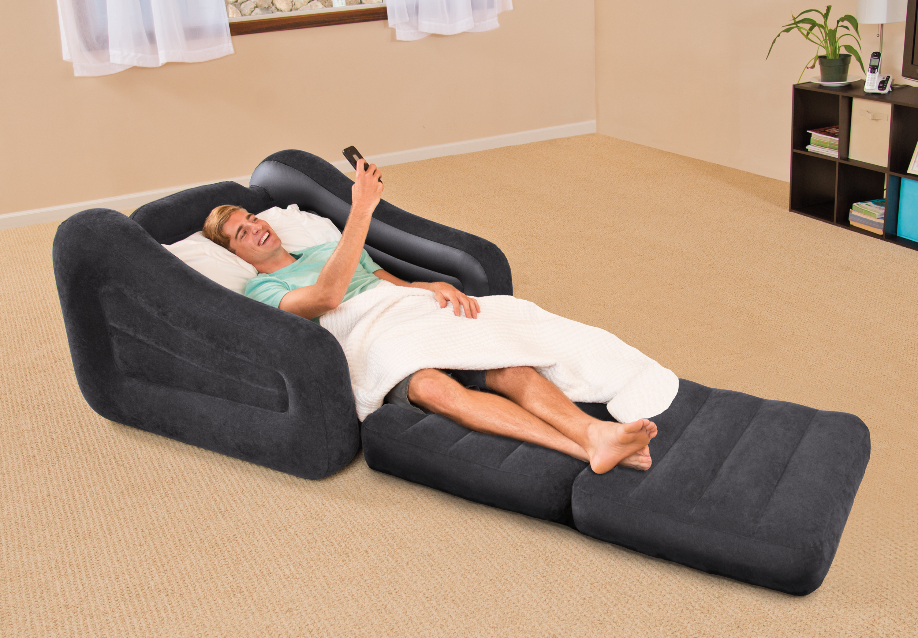 Intex Inflatable Air Chair with Pull Out Twin Bed Mattress Sleeper 68565E Black  eBay