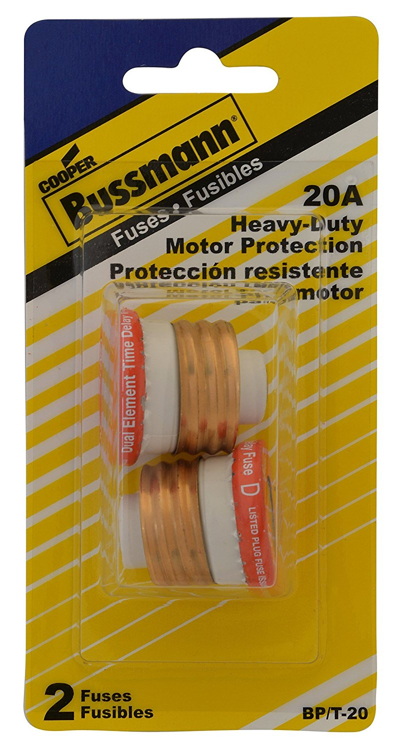 medium resolution of bussmann bp t 20 20 amp type t time delay dual element edison base plug fuse 125v ul listed carded 2 pack