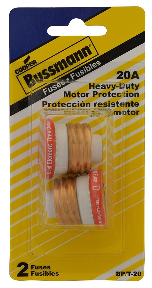 small resolution of bussmann bp t 20 20 amp type t time delay dual element edison base plug fuse 125v ul listed carded 2 pack