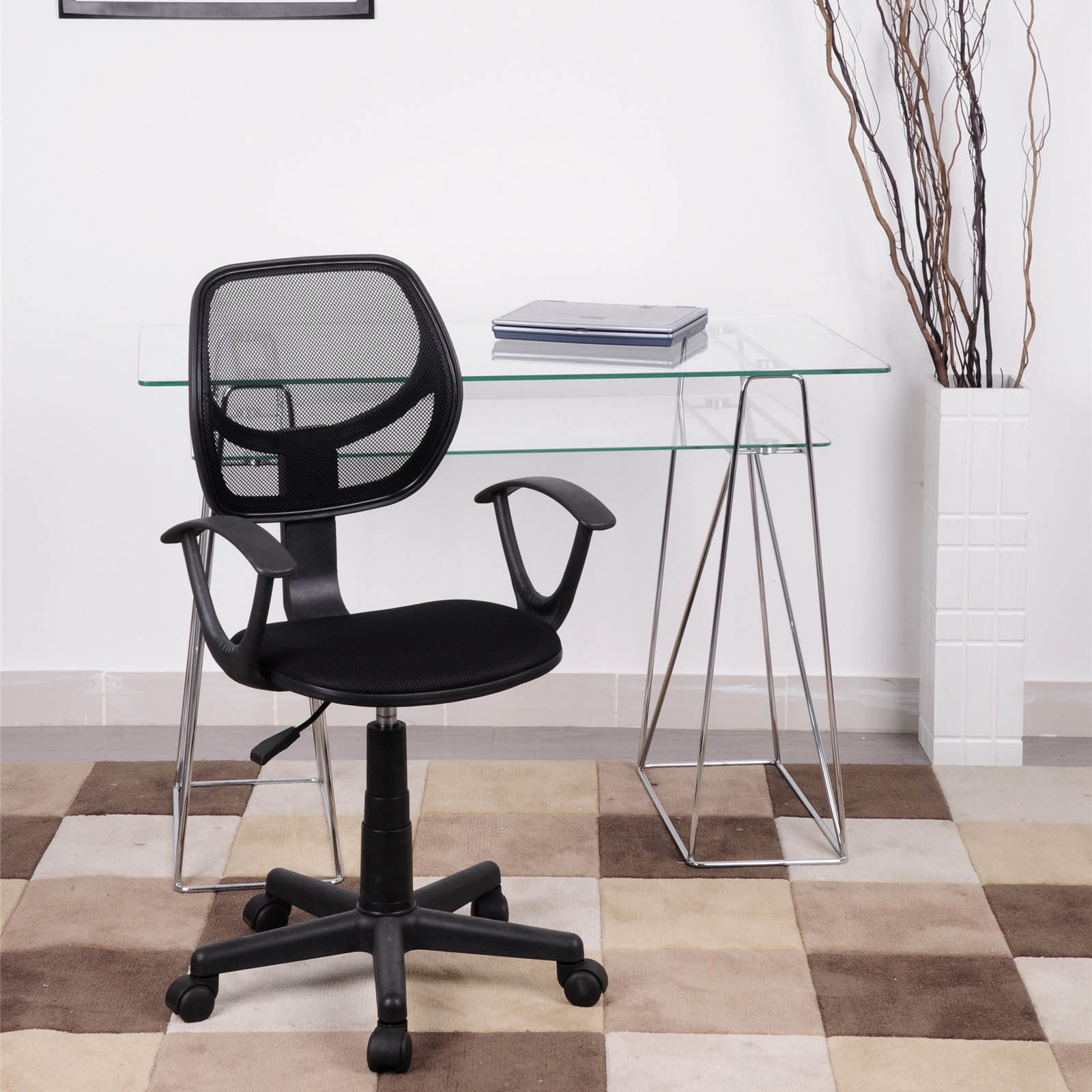 office chair with adjustable arms staples task parts ergonomic mid back home computer