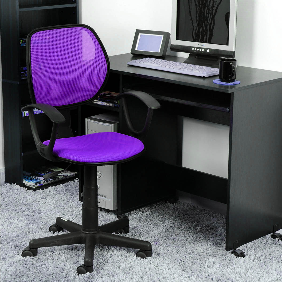 office chair with adjustable arms velvet club ergonomic mid back home task computer