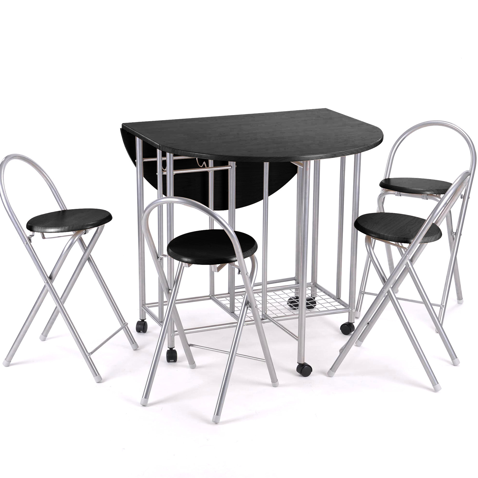 black folding table and chairs set rent tables nj 5pc kitchen dinette dinning
