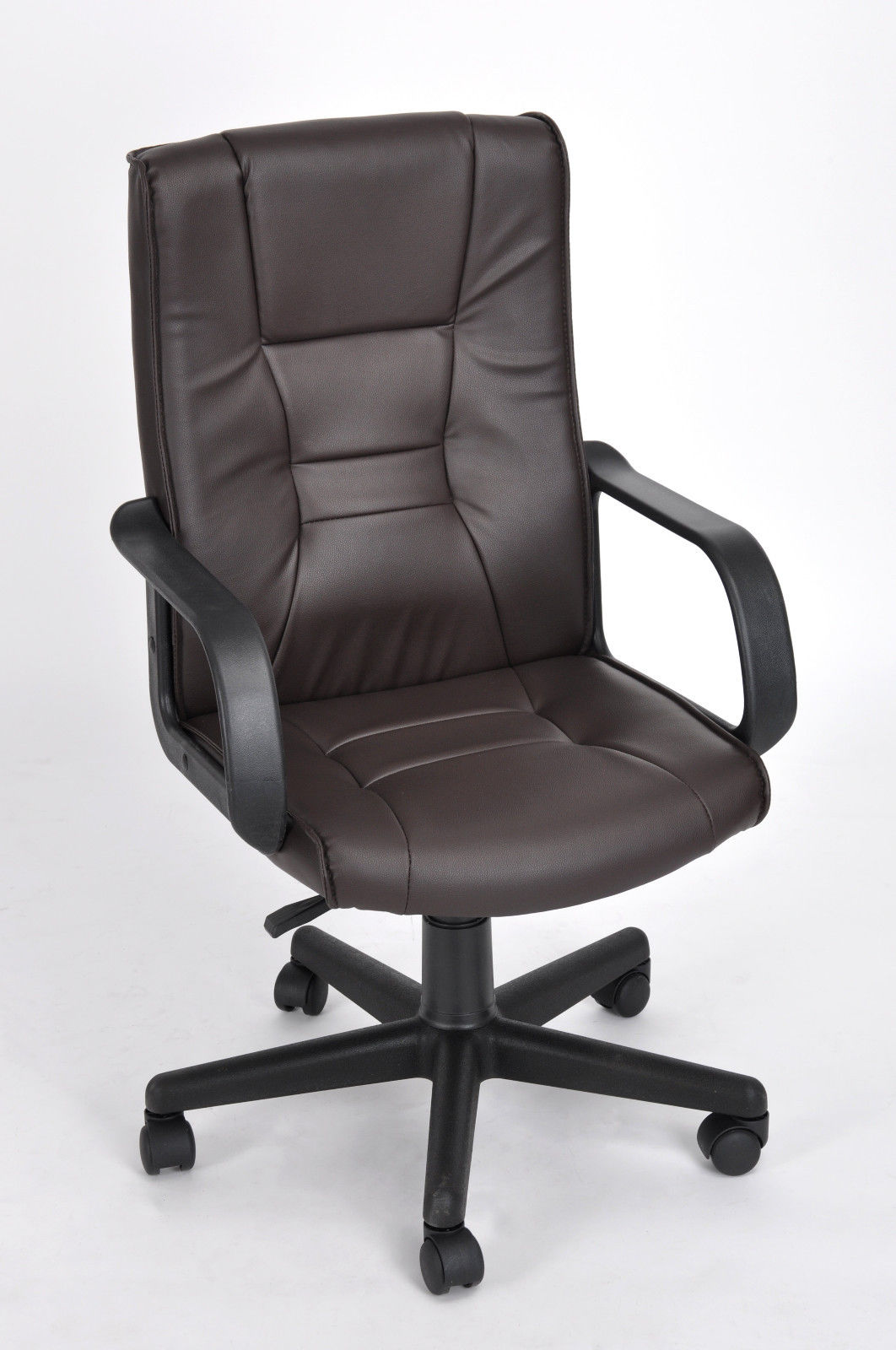 Brown Leather Office Chairs High Back Pu Leather Executive Office Desk Task Computer
