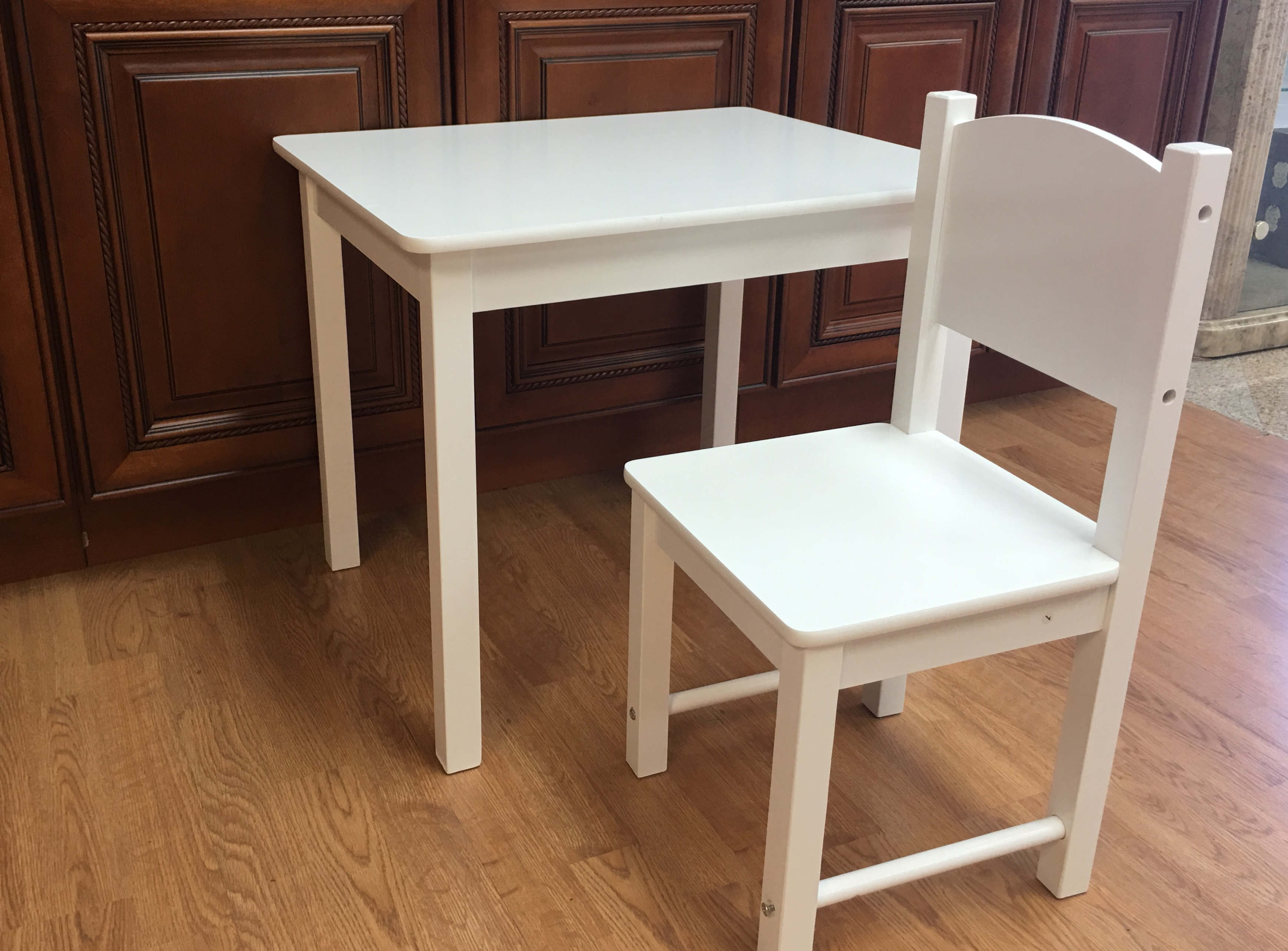 Wooden Kids Table And 2 Chairs Set Solid Hard Wood Sturdy