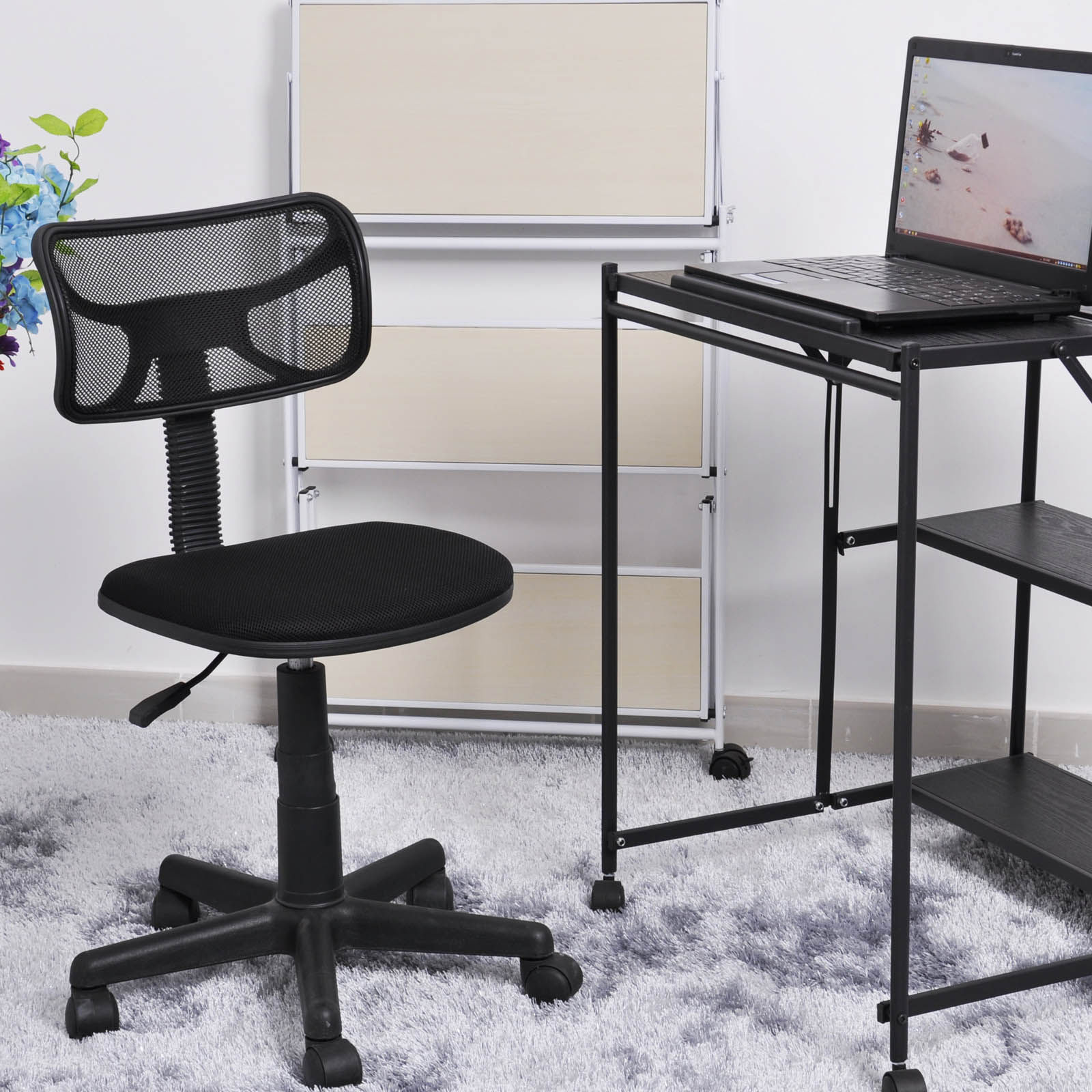 swivel office chair without arms bedroom teal ergonomic kid room mesh task computer desk midback