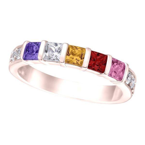 10k 14k Princess Mothers Ring 1-6 Stone Side Czs - White Yellow Rose Gold