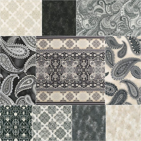 Studio Rk Trieste Onyx 9 Fat Quarter 1 Panel Bundle