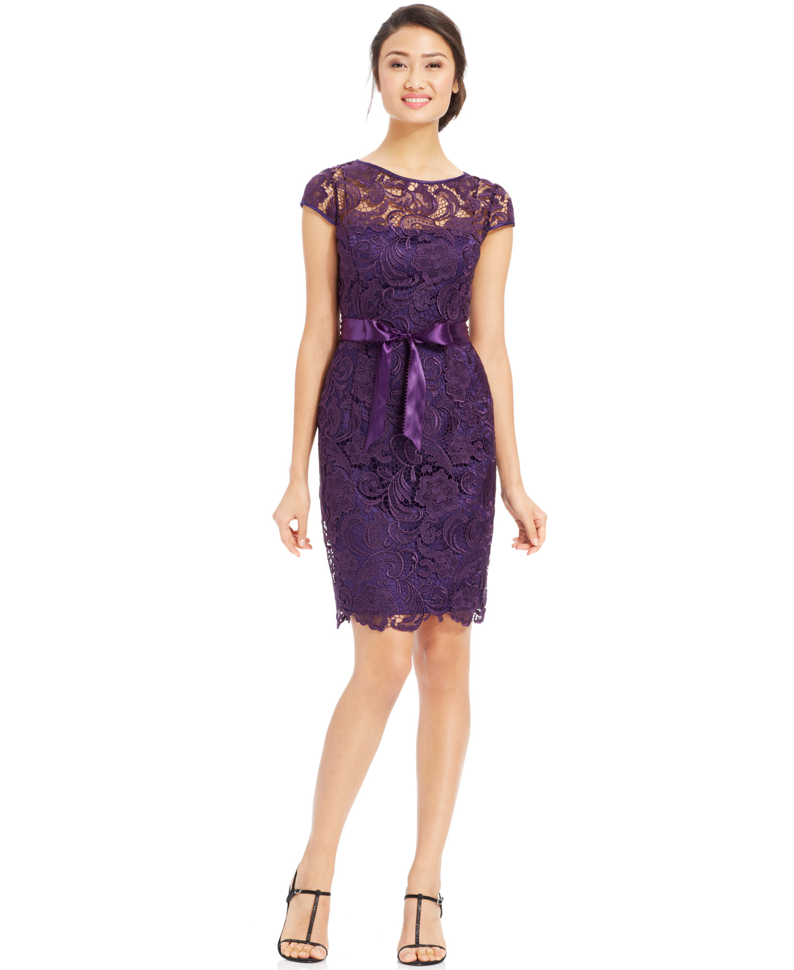 Adrianna Papell Amethyst CapSleeve Illusion Lace Sheath Dress 6  eBay