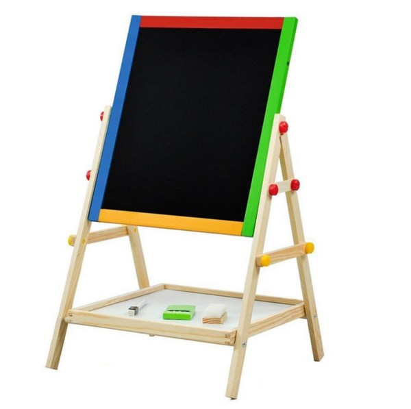 Wooden Standing Easel Kids Adjustable Double-sided Art Drawing Board With Tray
