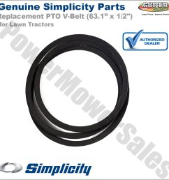 simplicity snapper briggs pto v belt for lawn tractor 52 decks 72026574 990373 990374 2156120sm [ 1200 x 1200 Pixel ]