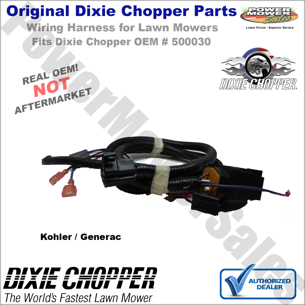 hight resolution of details about 500030 dixie chopper wiring harness for kohler and generac lawn mowers