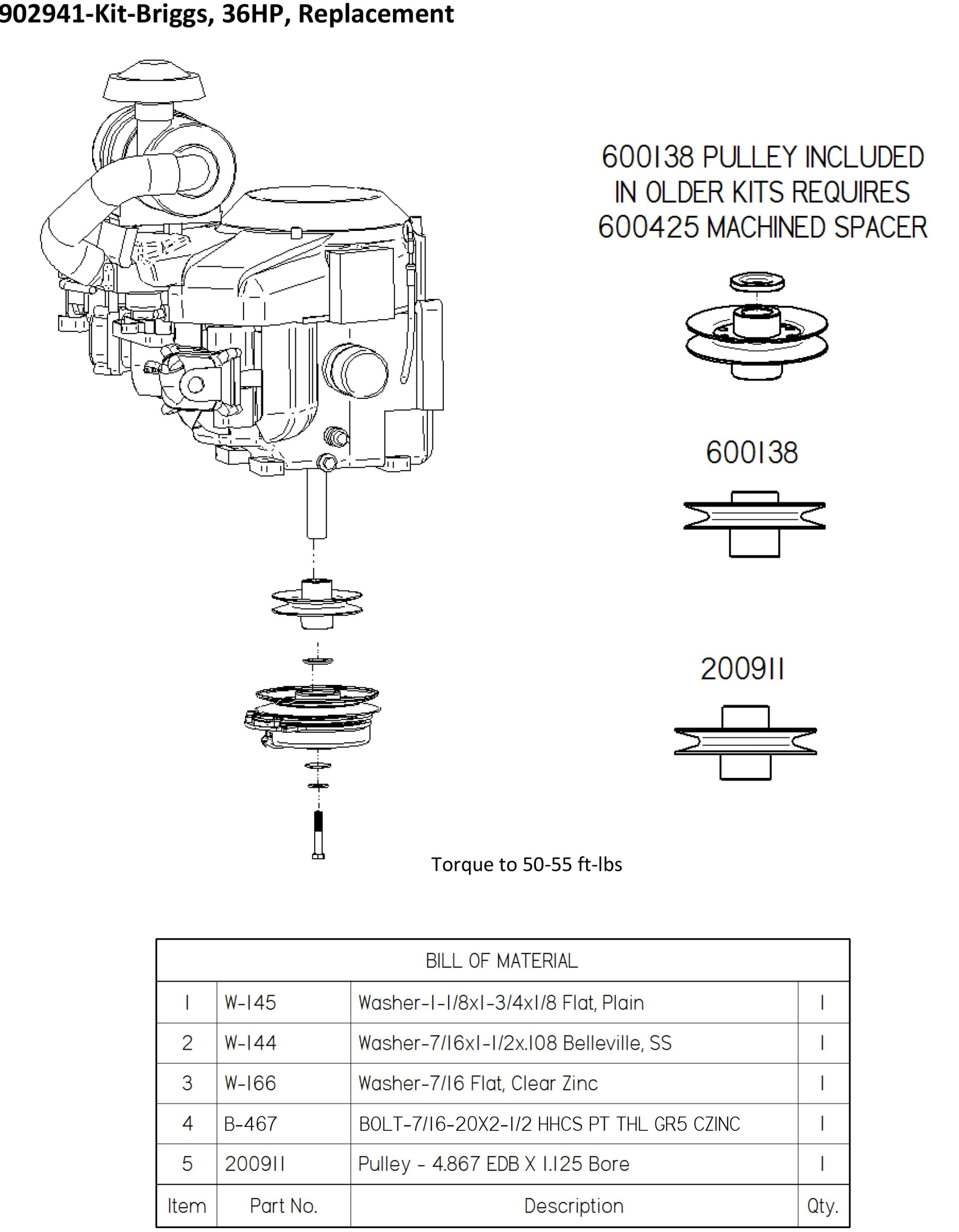 hight resolution of dixie chopper engine kit for 36 hp vanguard manual clutch engines generac 27 33 hp 903277