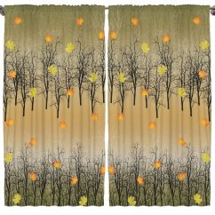Fall Kitchen Curtains Brass Sink Trees In The Leaves And Ombre Design Decor Nature