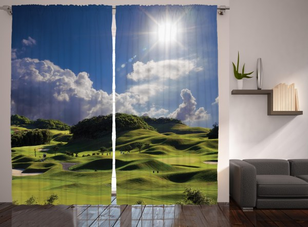 View Of Nature Collection Golf Modern Home Art Decor Curtain 2 Panel Set