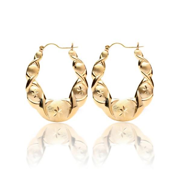 10k Yellow Gold Friendship Xo Hugs And Kisses Love Hoop Earrings
