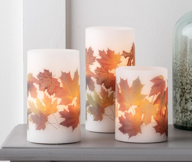 Lightsfun Inc Set Of  Fall Leaf Wax Battery Operated Flameless Led Thanksgiving Pillar Candles With Remote Control