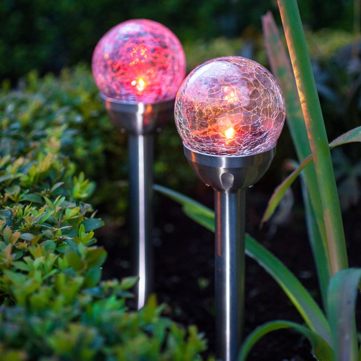 Set of 2 Crackle Glass Color Changing Solar Garden Stake Lights
