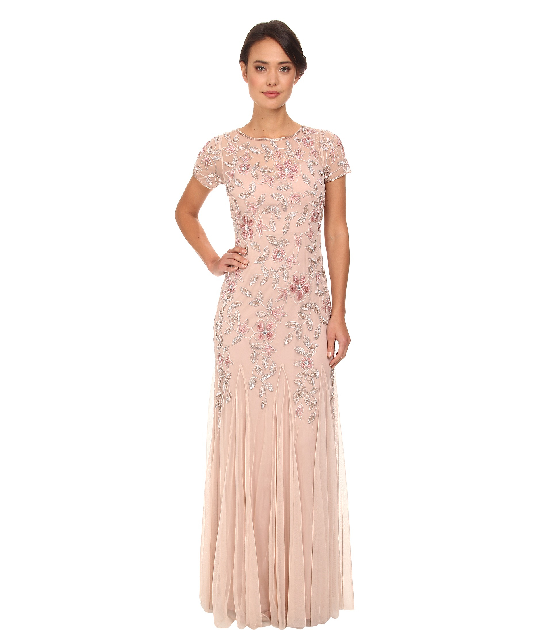 Adrianna Papell Womens Floral Beaded Godet Gown  eBay