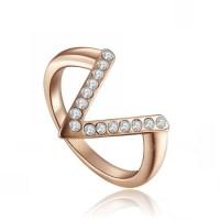 Wedding Wedding Ring V-shaped Rose Gold Plated Women's ...