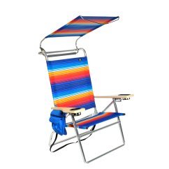 Hi Boy Beach Chair With Canopy All Weather Outdoor Rocking Chairs Deluxe 4 Position Aluminum W And Storage