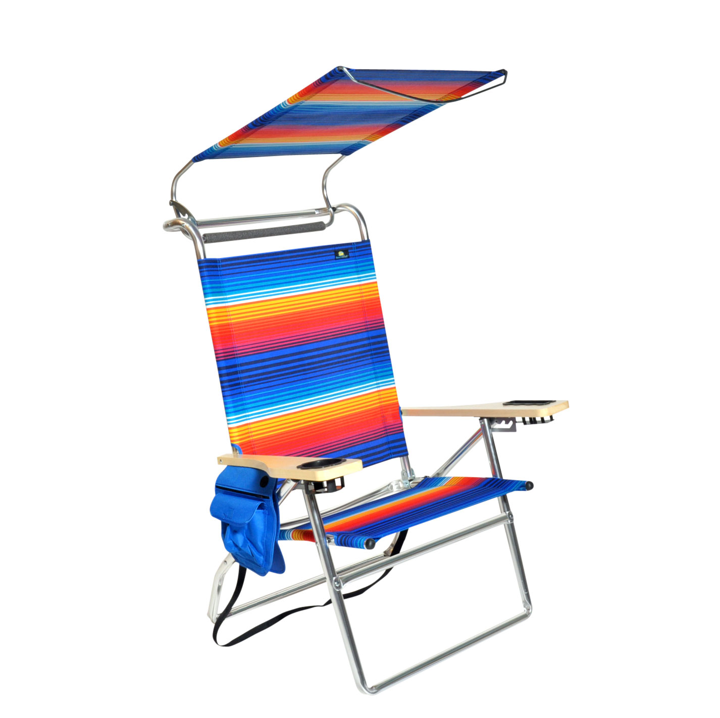 beach chairs with shade chair cushions ties ireland deluxe 4 position aluminum w canopy and storage