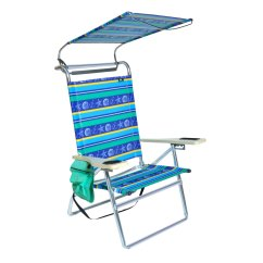 Hi Boy Beach Chair With Canopy Disposable Covers Amazon Deluxe 4 Position Aluminum W And Storage