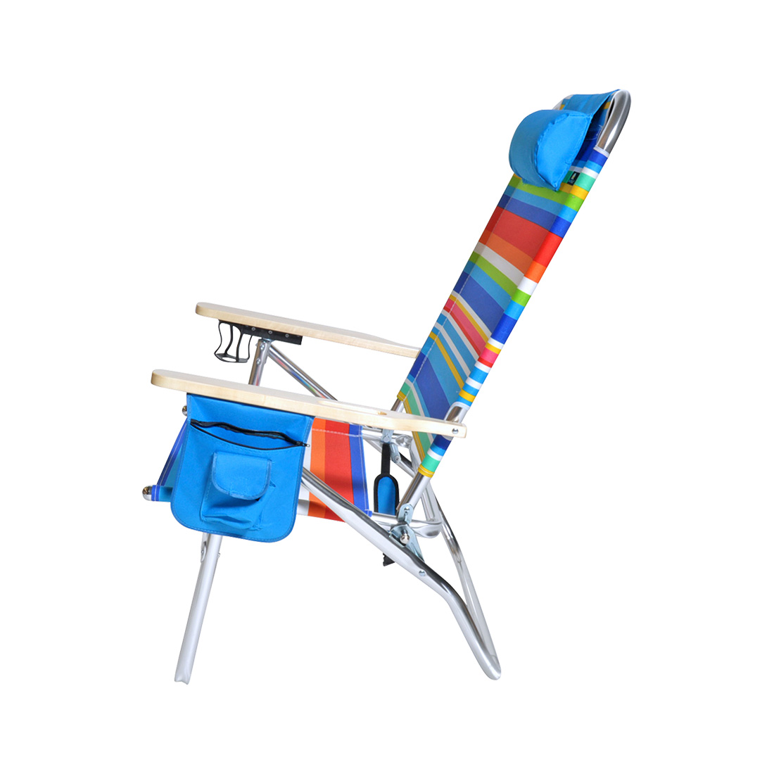 Beach Chair With Cup Holder Extra Large High Seat Heavy Duty 4 Position Beach Chair