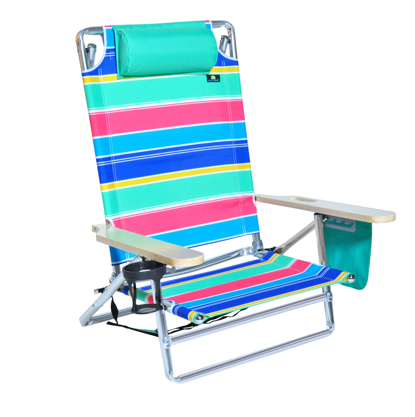 Beach Chair With Cup Holder 5 Position Platinum Lay Flat Beach Chair Extra Tall Back