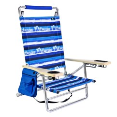 Lay Flat Beach Chair Folding Kitchen Deluxe 5 Pos Aluminum W Cup Holder