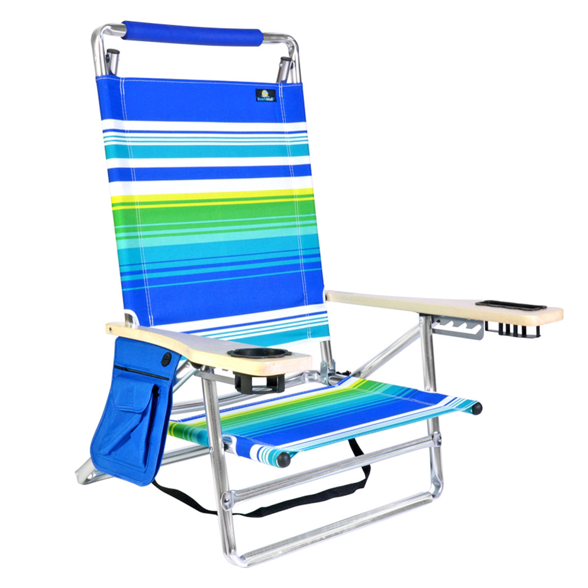 Beach Chair With Cup Holder Deluxe 5 Pos Lay Flat Aluminum Beach Chair W Cup Holder