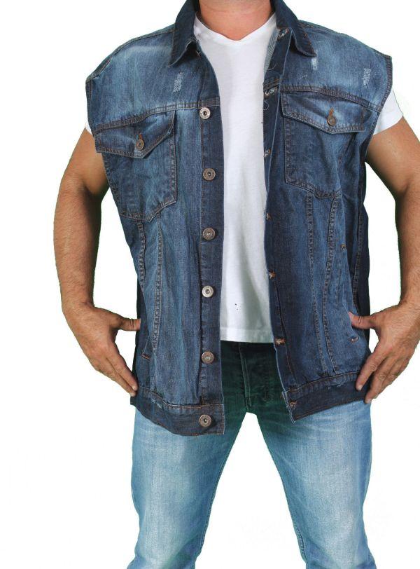 Men' Biker Blue Sleeveless Denim Motorcycle Vest Button Shirt 4xl 5xl 6xl