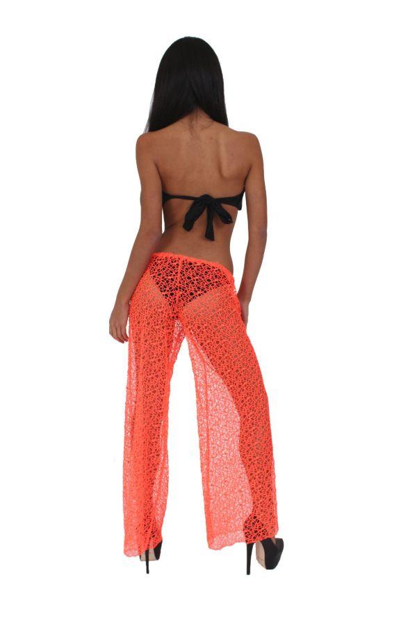 Women' Juniors Neon Orange Crochet Cover Bikini