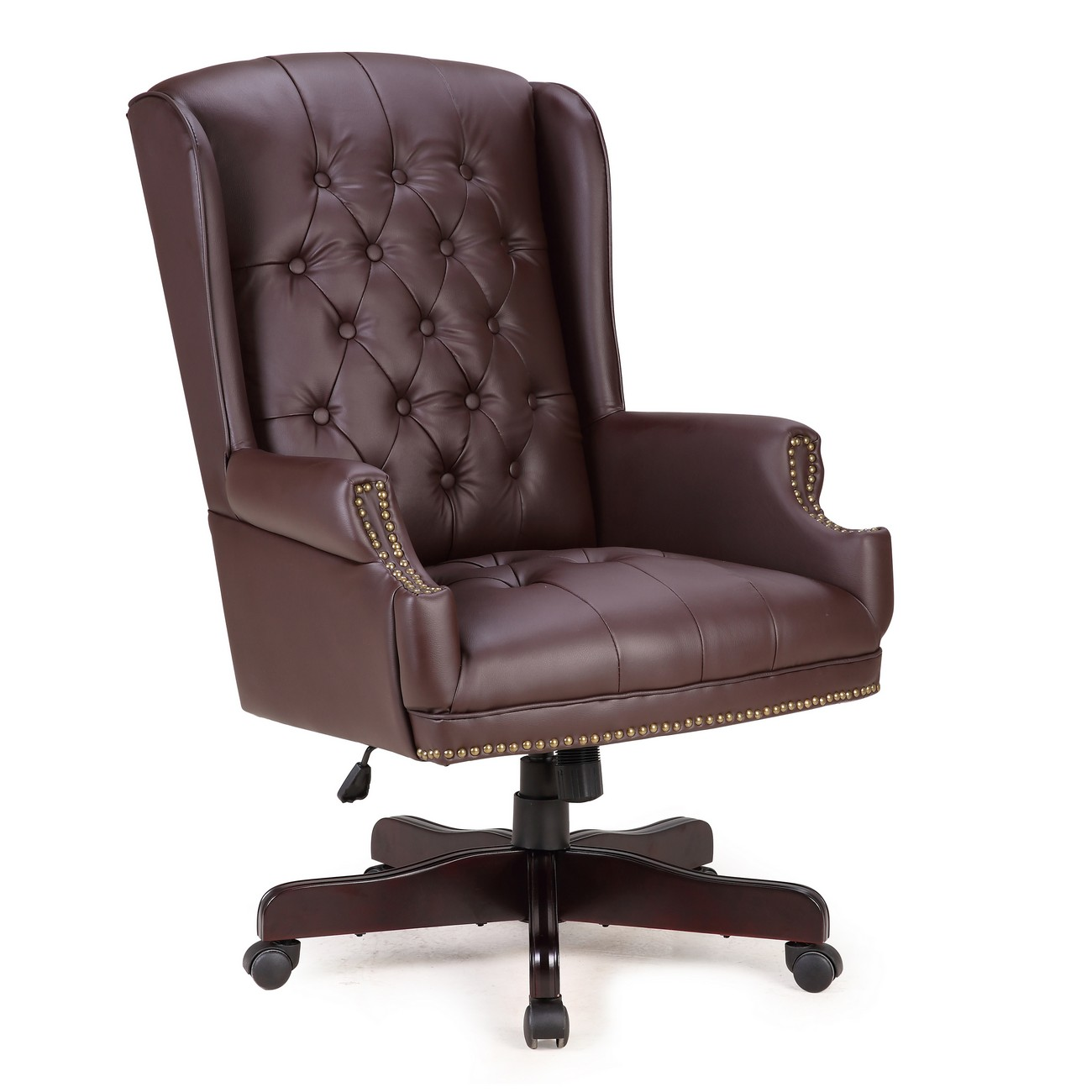 Tufted Leather Office Chair Details About Traditional Executive Wingback Office Chair Button Tufted W Faux Leather Brown