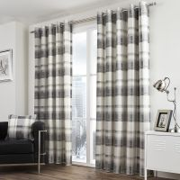 CHECK STRIPED GROMMET LINED 2 EYELET CURTAIN PANELS RED ...