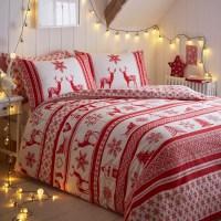 CHRISTMAS HOLIDAY SANTA REINDEER QUILT DUVET COMFORTER ...