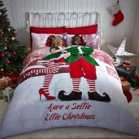 CHRISTMAS TREE SANTA REINDEER SNOWMAN QUILT DUVET ...